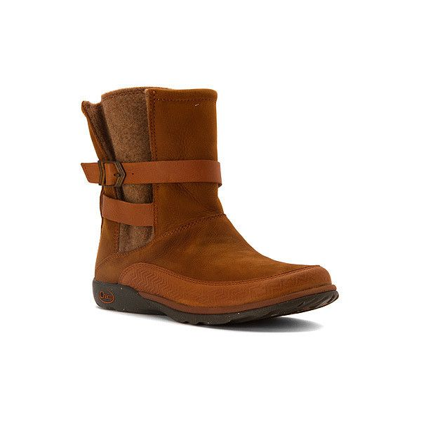 Chaco Hopi featuring polyvore, women's fashion, shoes, boots, rust, waterproof boots, chaco boots, chaco shoes, genuine leather boots and waterproof leather boots
