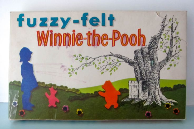Fuzzy felt, vintage 1970s fuzzy felt, Winnie the pooh fuzzy felt, vintage childrens toy, retro toy. by thevintagemagpie01 on Etsy