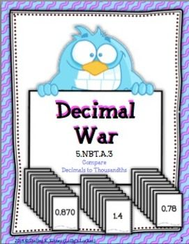 Comparing+decimals+is+more+fun+with+Decimal+War.+This+set+of+26+decimal+cards+is+played+like+a+game+of+war.++Students+compare+decimals+to+thousandths+as+they+enjoy+a+fast+paced+game.++Duplicate+on+card+stock+or+laminate+for+extra+durability.++Decimal+War+is+also+a+great+addition+to+a+math+center.