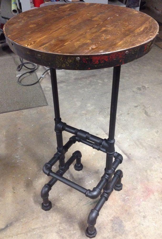 "Industrial Pipe - Wine Barrel Ring -Reclaimed Wood Top Raised Bar Pub Table 42"" #HandmadeInMaineByRusticNailInnovations #RusticIndustrialPrimitiveUpCycledPublodge"