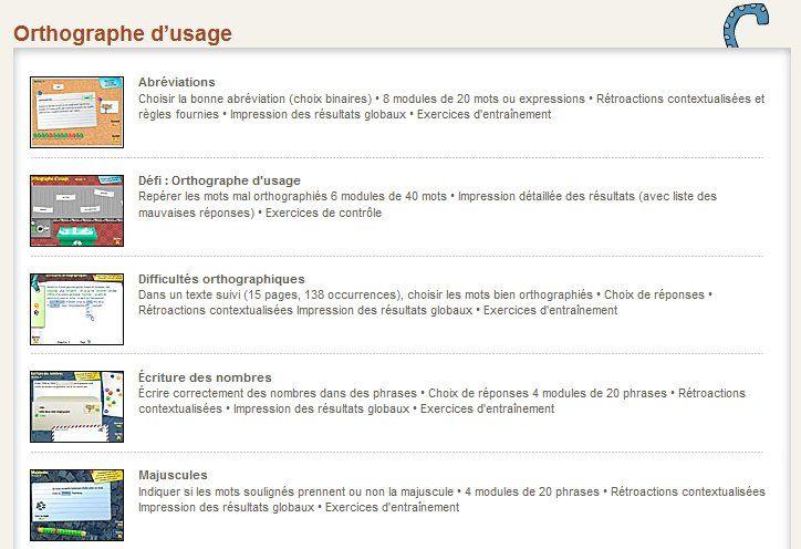 Jeux pédagogiques utilisables en classe (orthographe) et des exercices interactifs dans le menu de gauche.