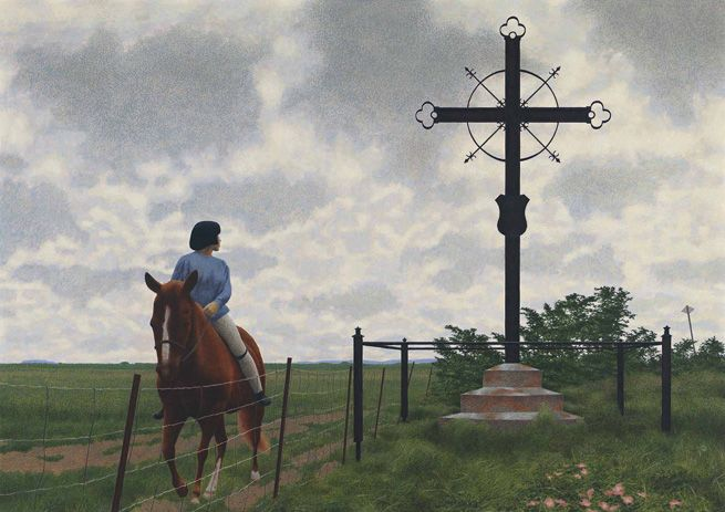 Alex Colville, French Cross, 1988. Courtesy of Heffel Fine Art Auction House.    Alex Colville, French Cross, 1988