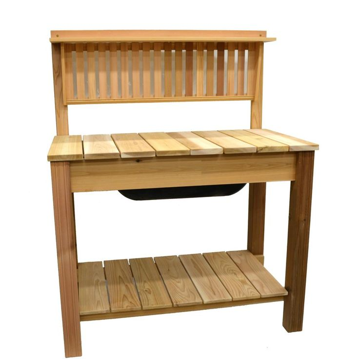 44.75 in. x 60.5 in. Natural Cedar Potting Bench with Modern Shelf