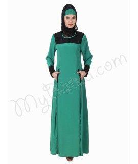 Rihab Crepe Bottle Green Abaya