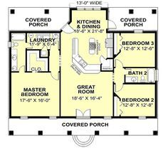 2 bedroom 2 bathroom single story house plans google search - Small 3 Bedroom House Plans