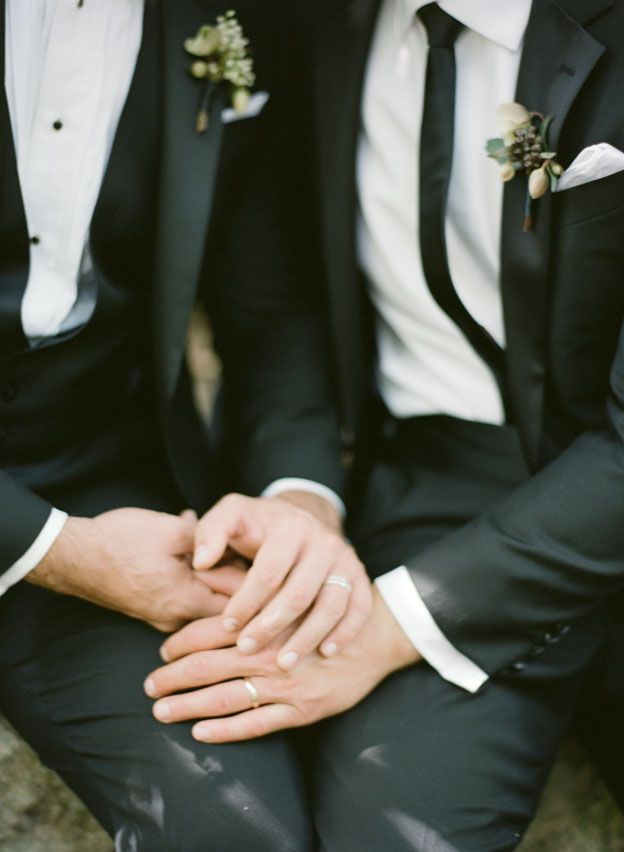 Organic Black Tie Same Sex Wedding Editorial for The Knot