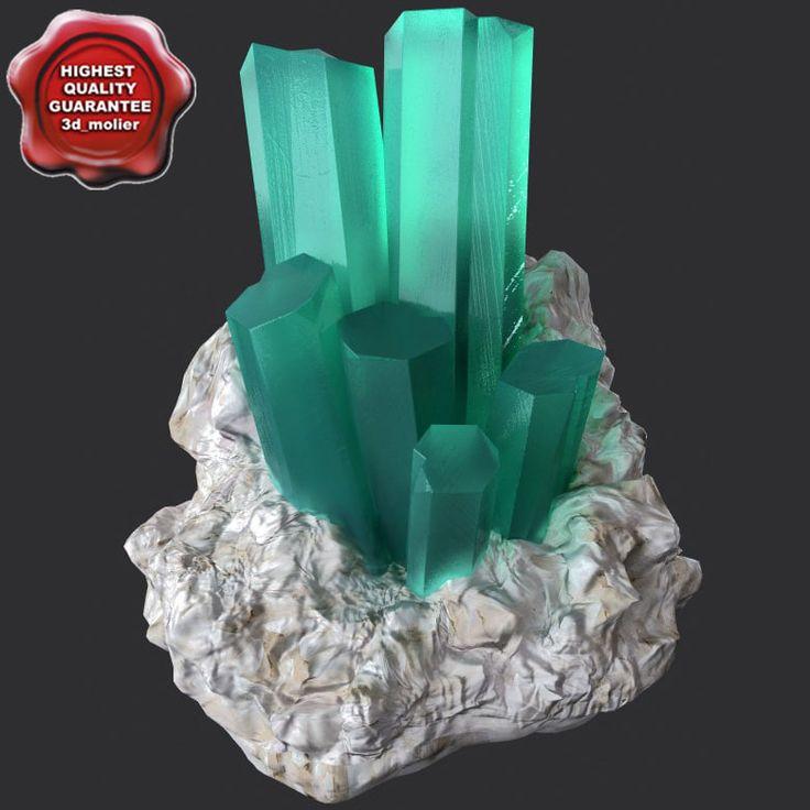 Mineral Akvamarin Beryl Xsi - 3D Model