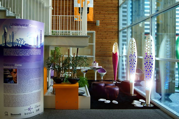 Organic floor lamp in DuPont™ Corian® with led technology, designed by Giancarlo Zema for LumineXence.