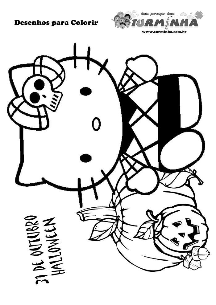 Desenho Hello Kitty - Dia das Bruxas para imprimir e colorir
