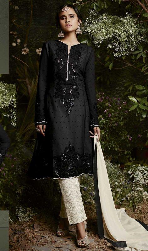 b0de753159 Black Color Embroidered Georgette Pant Style Suit . #2018indiansuits  #salwarpants shop at:http