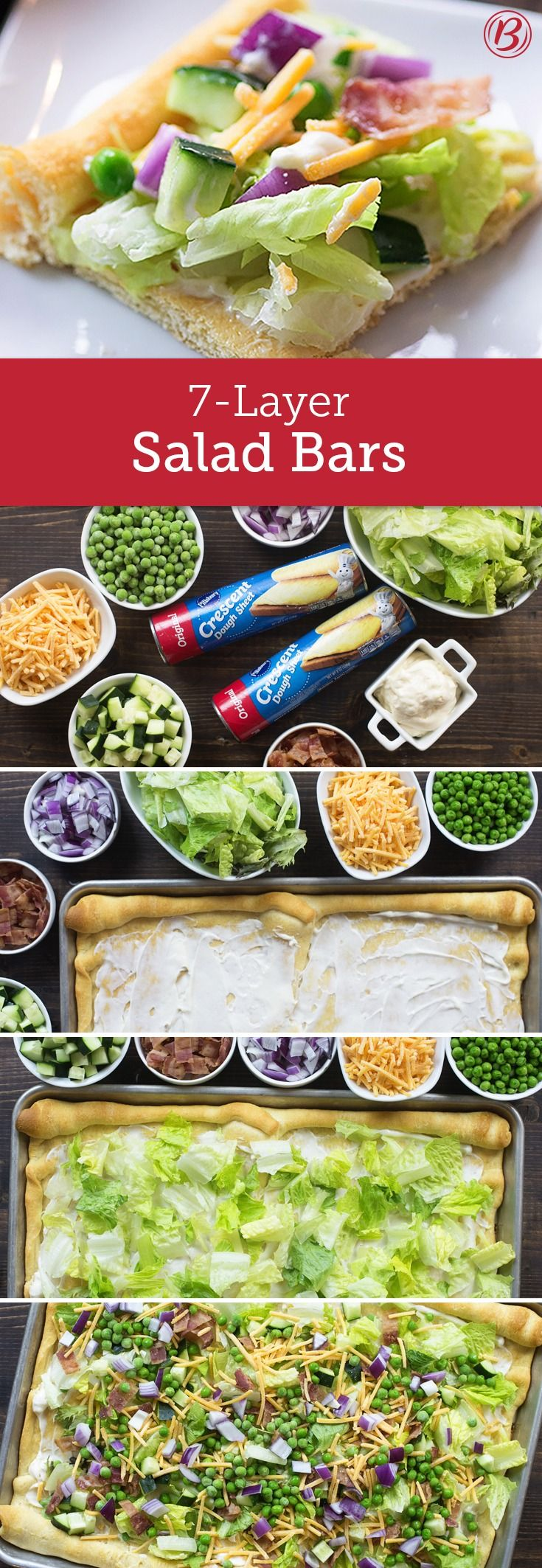 We turned a classic potluck winner into a handheld party food that tastes even better with a buttery crust. This go-to Seven-Layer Salad Bar has all of the favorite ingredients of the original: Bacon, cucumber, red onion, lettuce, peas, and Cheddar cheese – though this time its sitting on top of a freshly baked crescent dough sheet. Expert tip: If you have tomatoes, feel free to add them to the mix!
