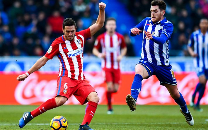 Download wallpapers Koke, footbalers, Atletico Madrid, match, La Liga, soccer