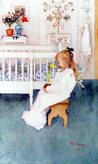 """A copy of this painting hangs above my bed in Madrid. My mom got it on a trip to Amsterdam. Carl Larssen, """"Lizbeth with Yellow Tulip."""""""
