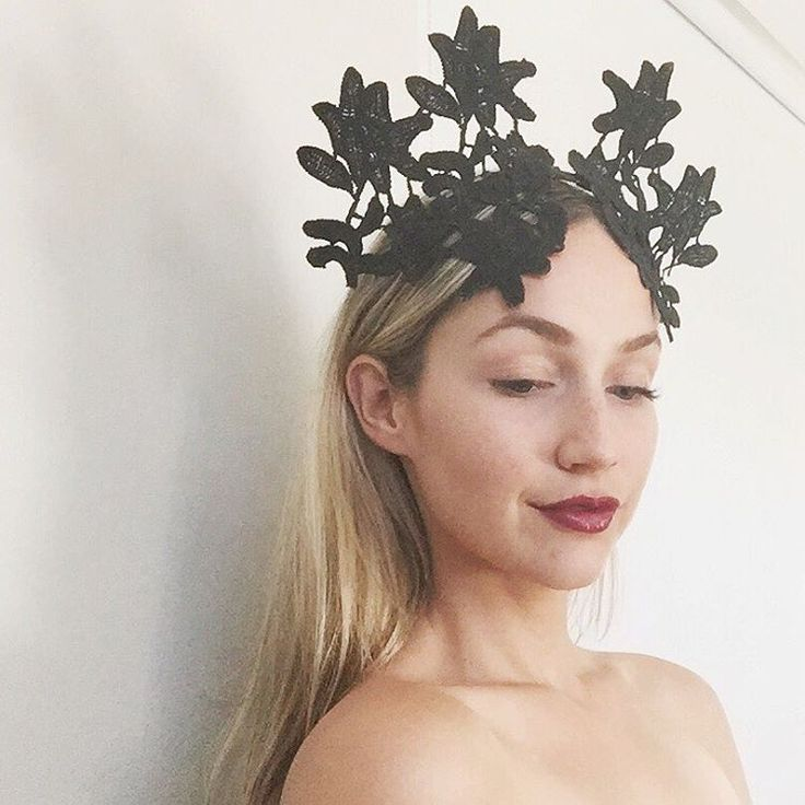 Black lace crown / headpiece by Alea Headpieces. Perfect millinery / fascinator for the races, bridal events: hens night, bridal shower or engagement party. Shop what's available with worldwide shipping x