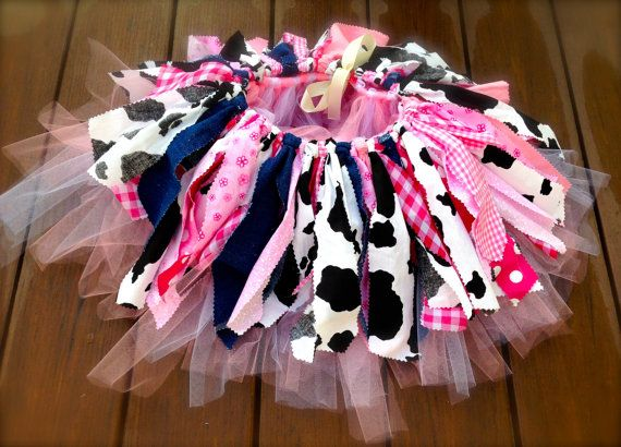 Pink Cowgirl costume - cowgirl skirt - Cowgirl birthday Tutu, Double layer, shabby chic fabric tutu skirt - Choose your size