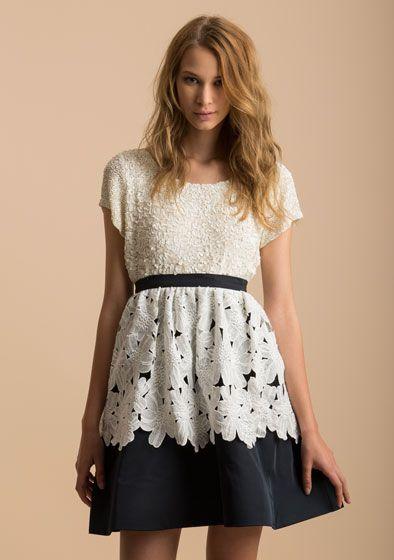 blusa full pailettes con dettagli riga gonna in tafetà con tessuto a contrasto fiori