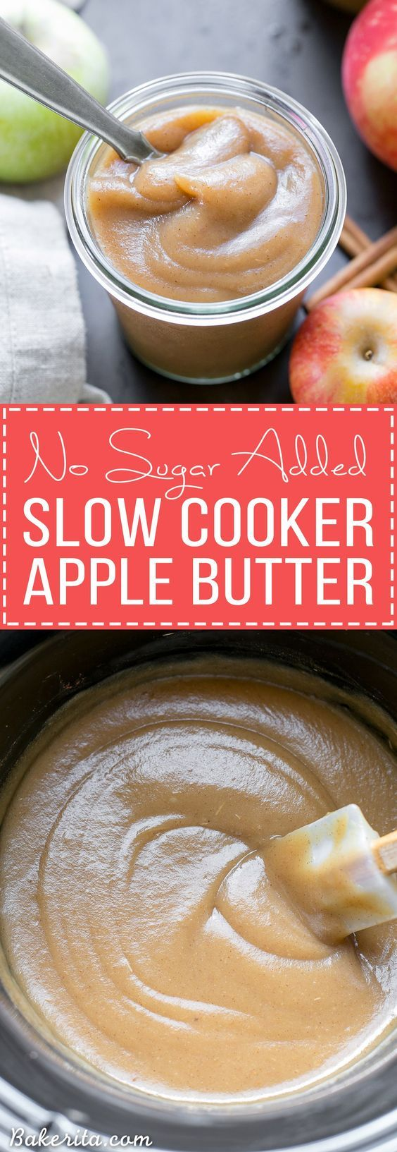 This Slow Cooker Apple Butter has no sugar added - just fresh apples, cinnamon, nutmeg, and a little lemon juice. This homemade healthy apple butter can be enjoyed on toast, stirred into oatmeal or yogurt, or eaten by the spoonful!