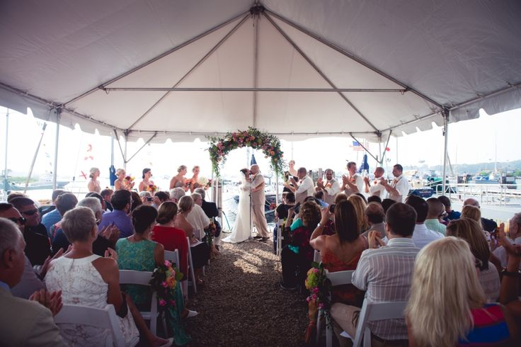Ceremony under the #navitractent #wedding #bride #groom #waterfront #frametent #chasecanopy