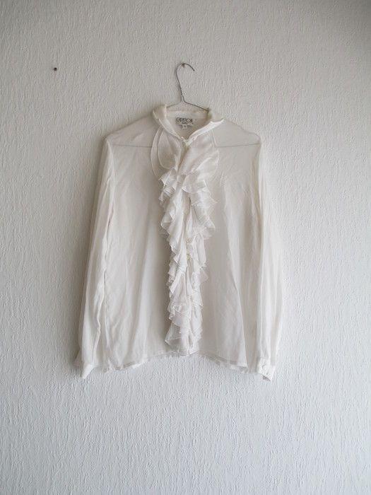 rüschenbluse weiß vintage romantik retro antik gr. 40 M blogger bluse rüschen gerüscht