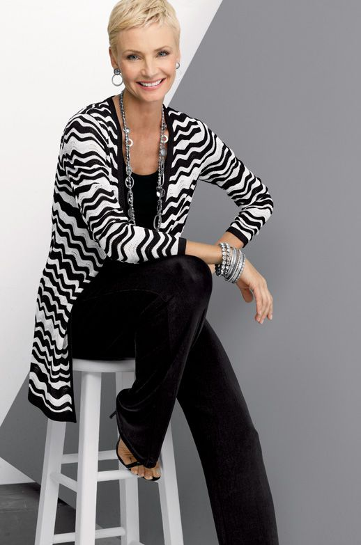 Black and white! Wrinkle-free--Travelers takes you everywhere and goes with everything  #chicos