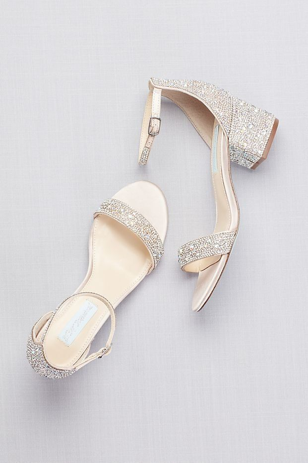 Low Block Heel Sandals With Allover Gem Embellishment Prom Heels From David S Bridal Prom Shoes Silver Wedding Shoes Heels Wedding Sandals