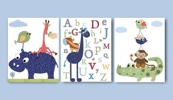 Navy Green Blue Canvas Wall Art Giraffe Alphabet Baby Nursery Decor