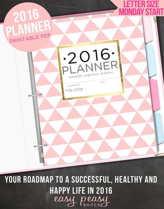 2016 Planner 2016 Organizer Letter Size van EasyPeasyPaper op Etsy