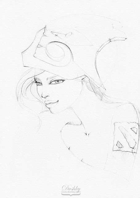 illustration by #dushky | #fashion #illustration #girl #game #gaming #videogames #character #dota2 #juggernaut #mask #red #ginger #tattoos #look #lips #corphack