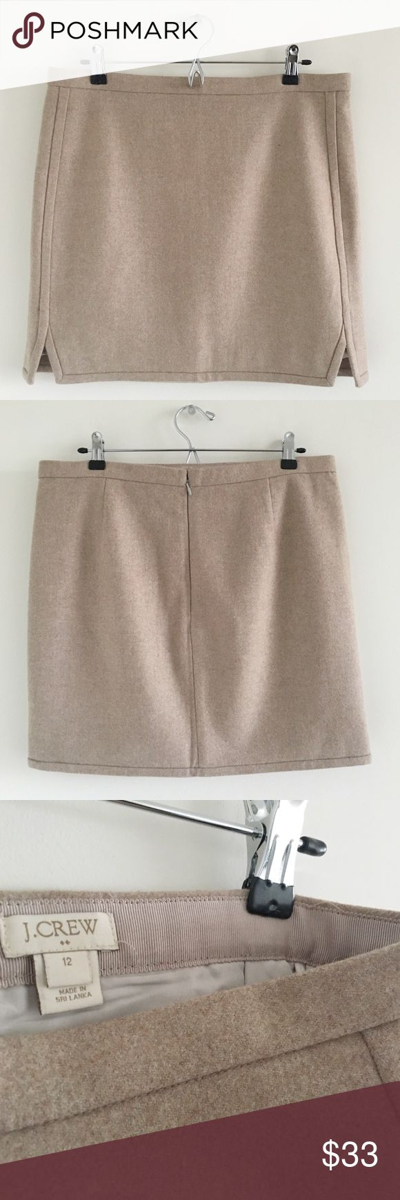 🆕 J. Crew Factory Double-Notch Wool Mini Skirt 12 A super cute, oatmeal-colored wool skirt that would be perfect as part of a preppy work look.  Stats (laying flat): Length: approx. 18"