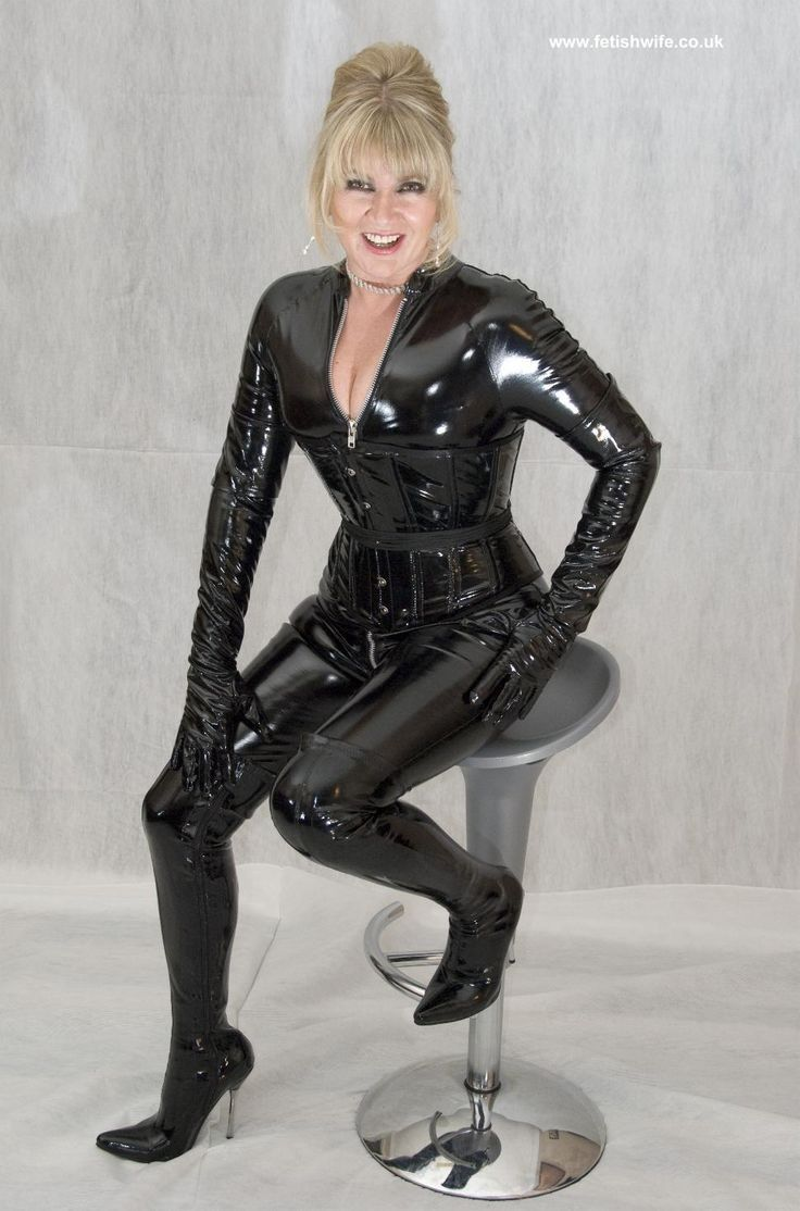 Pvc Catsuit Gloves And Thigh Boots