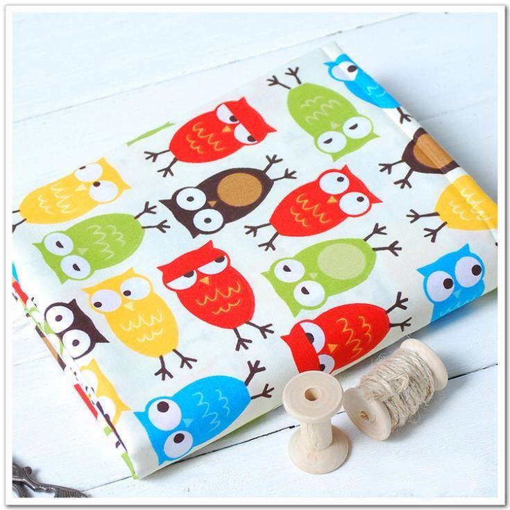 Симпатичные красочные сова отпечатано 100% хлопковый детское постельное белье, швейные, шторы, лоскутное, обивочные ткани материал размер 160 * 100 см