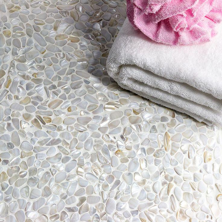 Oyster White Pearl Pebbles Tile - Mosaic Tiles