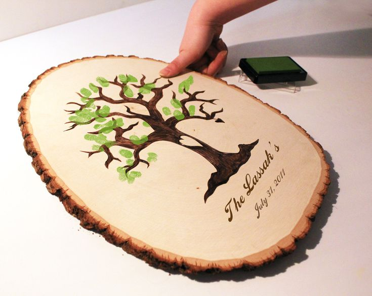 Wedding Fingerprint Tree Guest Book CUSTOM ORDERS. $59.99, via Etsy. (cute idea, though it'd be nice to have everyone sign their finger print)