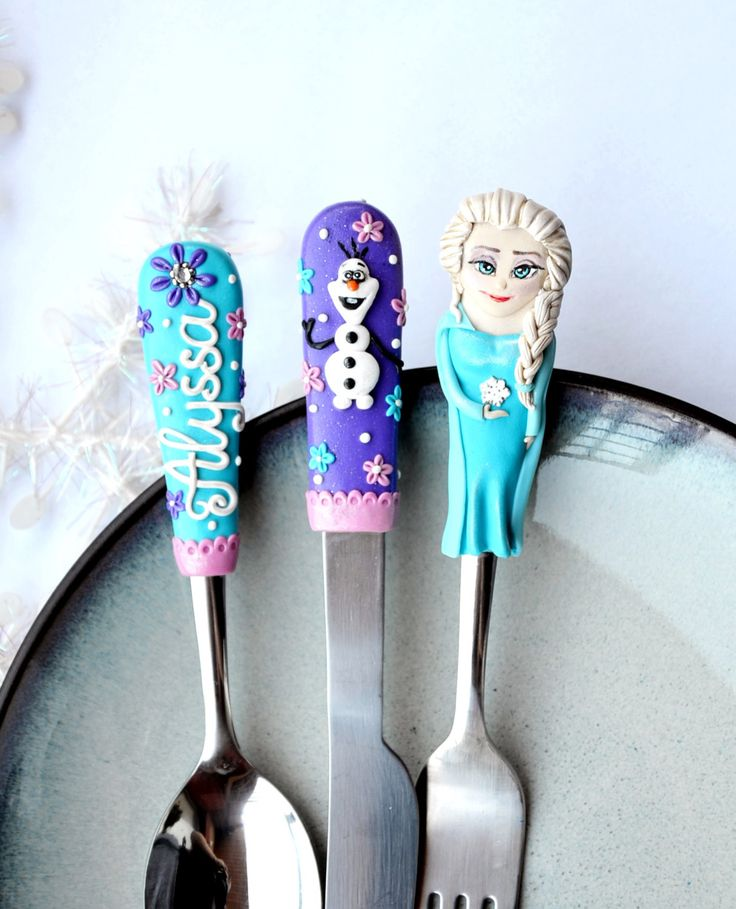 Frozen Silverware Personalized Gift Baby Children 4 to 10 years Adult Spoon with Name Polymer clay Blue Purple Flatware Set Queen Elsa by RadArtaDesign on Etsy