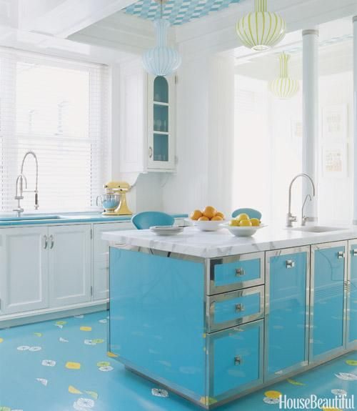 bright blue kitchen floors style at home pinterest