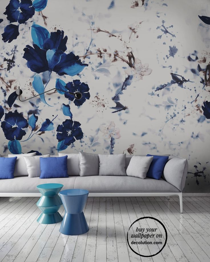 Blue Spring - A wallpaper where the blue and white floral elements create an elegant and refined decorative effect. www.decolution.com #wallpaper #cartadaparati #cartedaparati #papelpintado #papierpeint #tapete #wallcovering #designityourself #DIY #wallpapershop #wallpaperonline #wallcovering #interiordesign #homedecoration #home