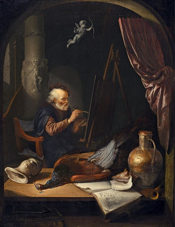 Gerard Dou: Een oude schilder aan het werk. 1649. Particuliere verzameling, Duitsland. De schilder zit achter een tafel met daarop een gebeeldhouwde kop en een boek met een prent. Naast een koperen pot met uiterst verfijnd geschilderde lichtreflecties een natuurgetrouwe pauw en een prachtige schelp. De pauw is een aloud symbool van hoogmoed en ijdelheid. Dou is zich bewust dat zijn streven uiteindelijk ijdel en hoogmoedig is: wat wij hier zien is immers slechts schijn.