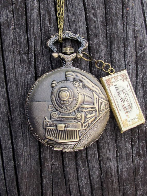 Harry Potter Hogwart's express inspired pocket watch locket  Train on platform 9 3/4. I would wear this all the time and look fancy as F**K