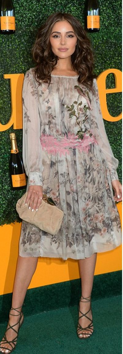 Olivia Culpo in Dress – Alberta Ferretti  Shoes and purse – Jimmy Choo  Jewelry – EF collection and Zoe Chicco