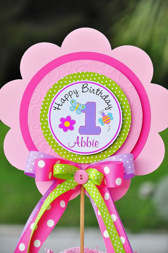 Deluxe XL Girls 1st Birthday Centerpiece Hugs & by thepaperkingdom, $13.00...making these!