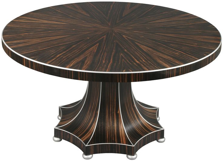 Art Deco Inspired Circular Dining Table Shown In Macassar Ebony And Edged Silver