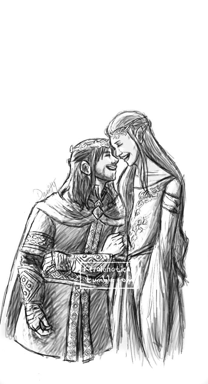 Kili and Tauriel, if the Battle of the five Armies would have had a different ending (by Kerolunatica)