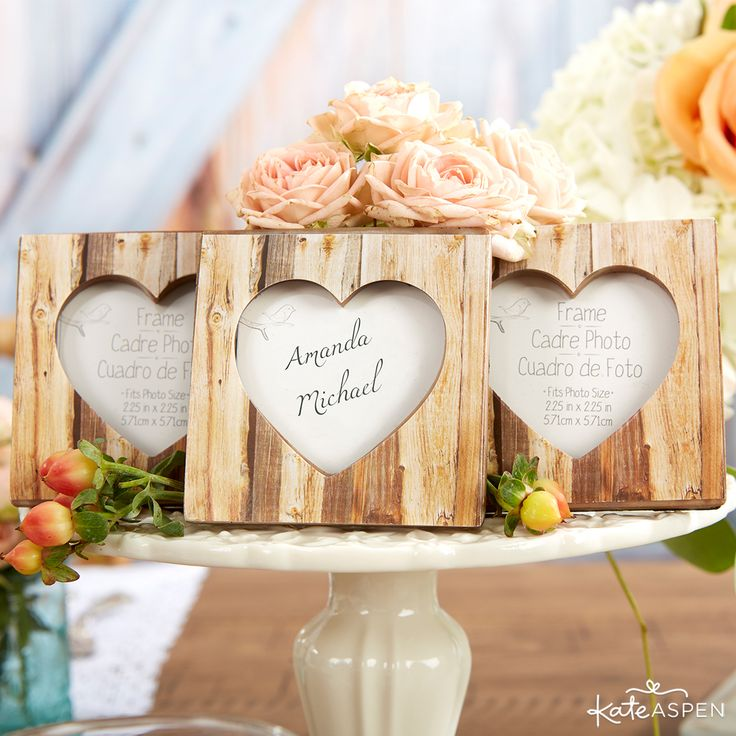 silver heart wedding place card holders%0A   Rustic Romance   FauxWood Heart Place Card Holder Photo Frame