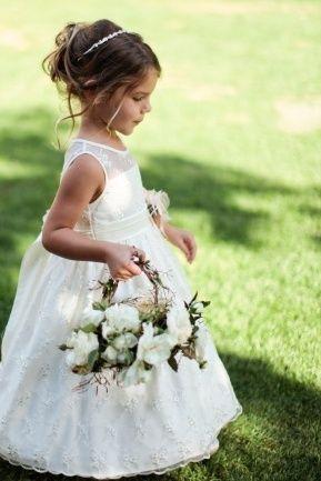 Little Flower Girl with flower basket