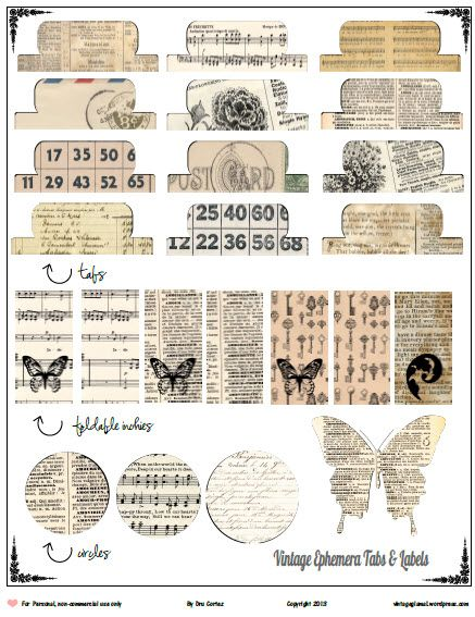 FREEBIE download. Vintage Ephemera tabs: some tabs and labels with a vintage ephemera look for either scrapbooking, journaling, smash books and other paper crafting …