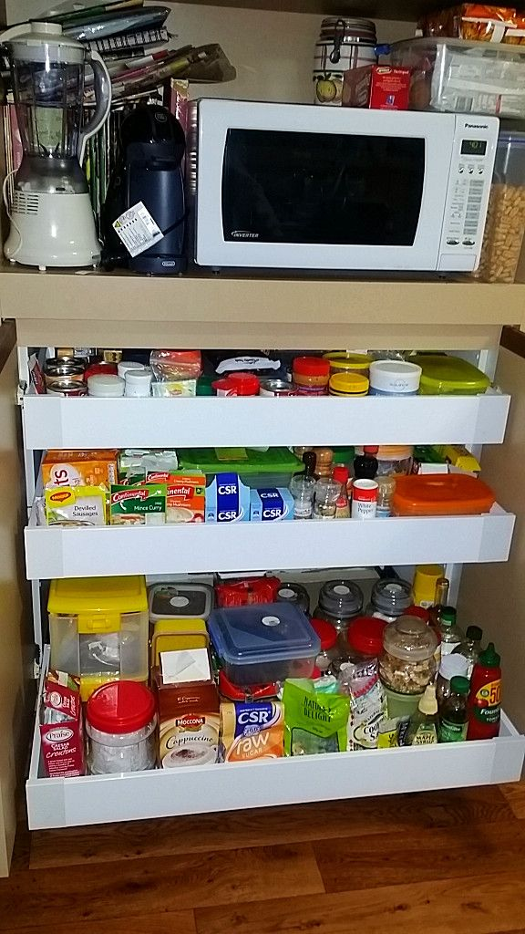 Low three drawer pantry unit supplied andinstalled by the Pantry Drawer Specialist.
