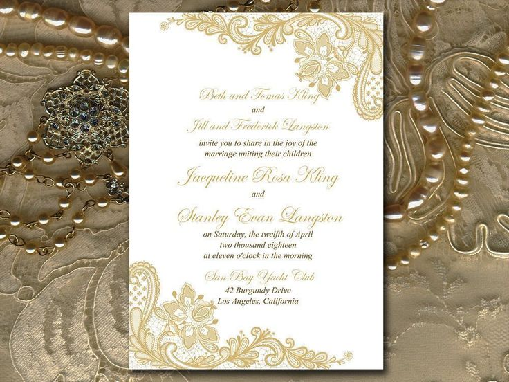 Gold Wedding Invitation Template Printable, Gold Lace Invitation, DIY Wedding Printable, Microsoft Word Template, Instant Download Invite by PaintTheDayDesigns on Etsy #weddinginvitationwording
