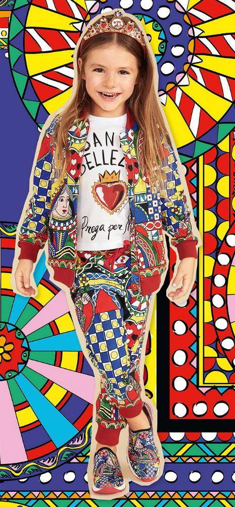 26dbdba050 Little Girl Clothing · Children Clothing · Dolce  amp  Gabbana Girls Mini  Me Queen of Hearts Print Tracksuit Shirt for Spring Summer