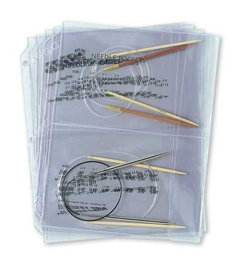 $12/pack of 5 pockets (10 pockets total)  CIRCULAR NEEDLE POCKETS - heavy duty vinyl w/ fold-over flaps & a place to record needle sizes, each pocket can hold multiple circular or double pointed or straight single pointed (as long as they aren't too long) needles & fits into a standard 3-ring binder