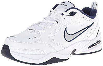 Nike Men's NIKE AIR MONARCH IV (4E) RUNNING SHOES -12; White / Metallic Silver-Midnight Navy